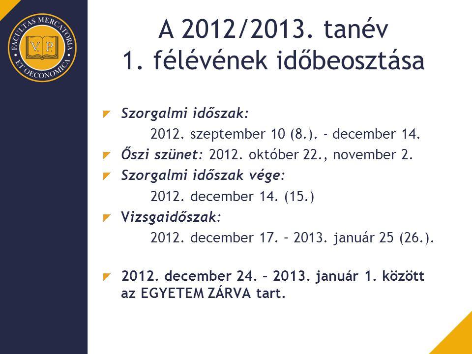 A 2012/2013. tanév 1. félévének időbeosztása Szorgalmi időszak: 2012. szeptember 10 (8.). - december 14. Őszi szünet: 2012. október 22., november 2. S