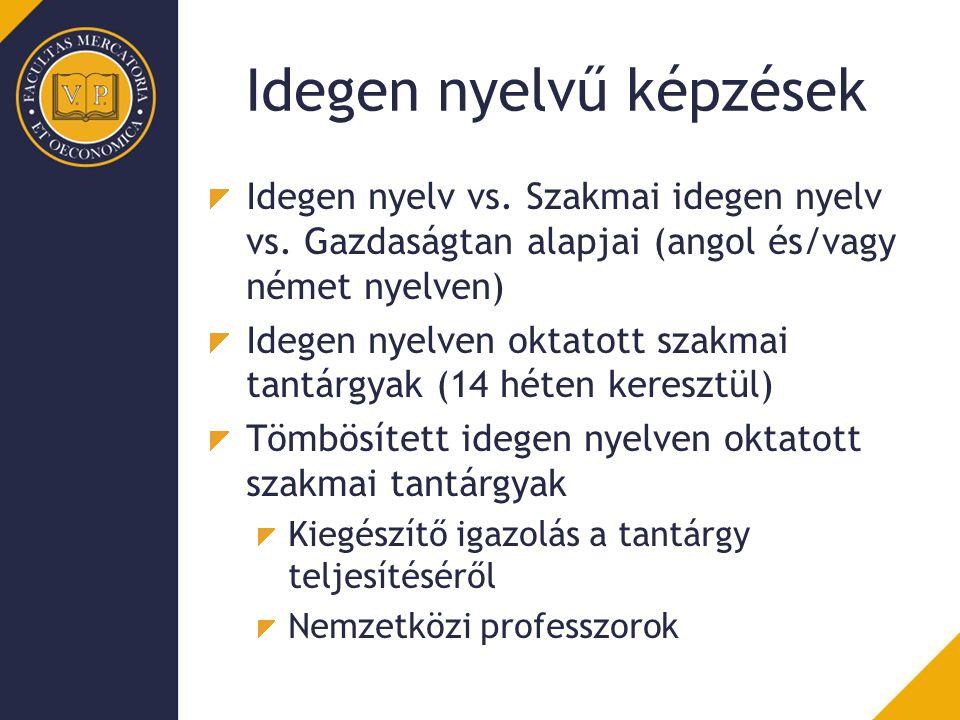 Idegen nyelvű képzések Idegen nyelv vs. Szakmai idegen nyelv vs. Gazdaságtan alapjai (angol és/vagy német nyelven) Idegen nyelven oktatott szakmai tan
