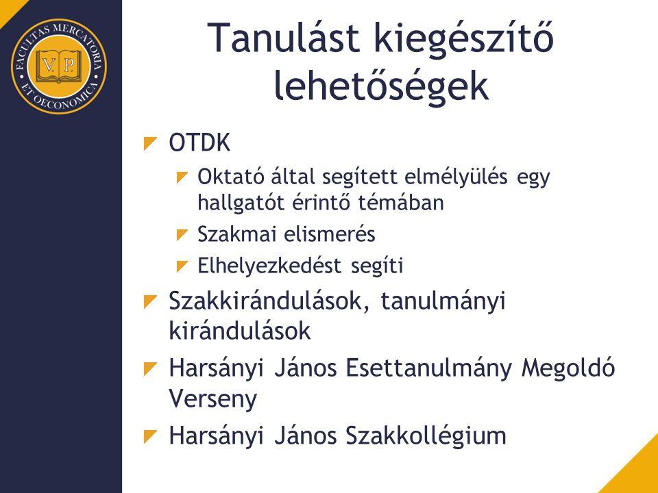Tanulást kiegészítő lehetőségek OTDK Oktató által segített elmélyülés egy hallgatót érintő témában Szakmai elismerés Elhelyezkedést segíti Szakkirándu