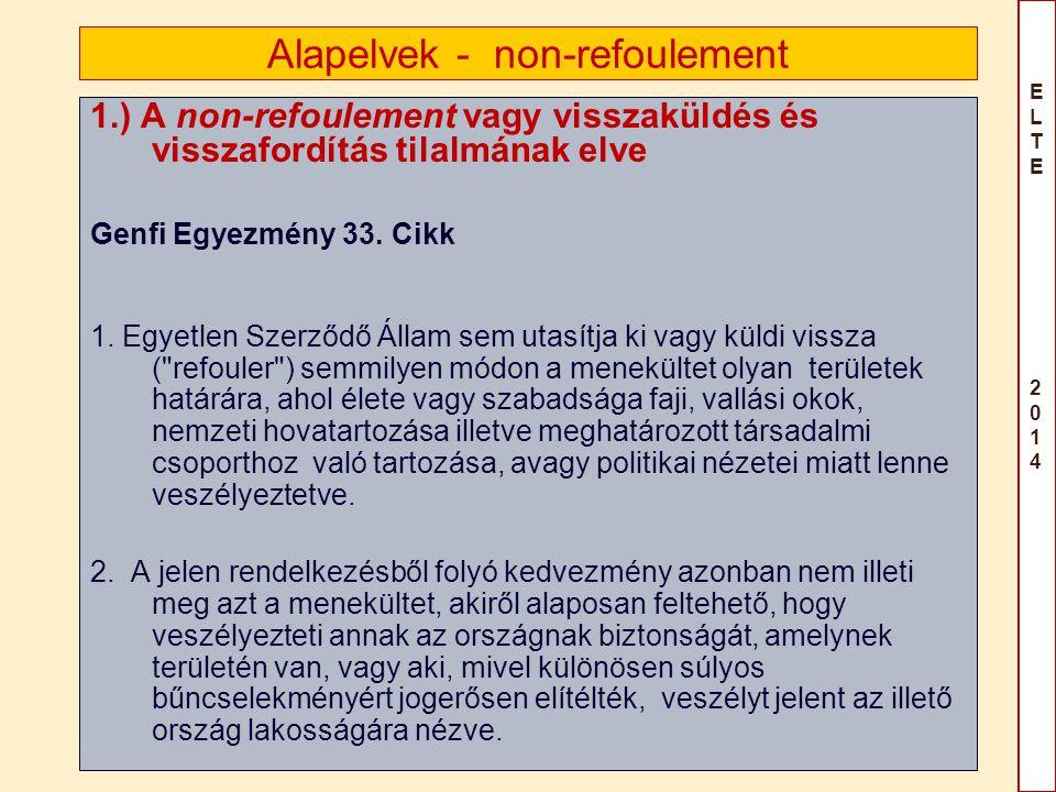 ELTE 2014ELTE 2014 Alapelvek - non-refoulement 1.) A non-refoulement vagy visszaküldés és visszafordítás tilalmának elve Genfi Egyezmény 33. Cikk 1. E