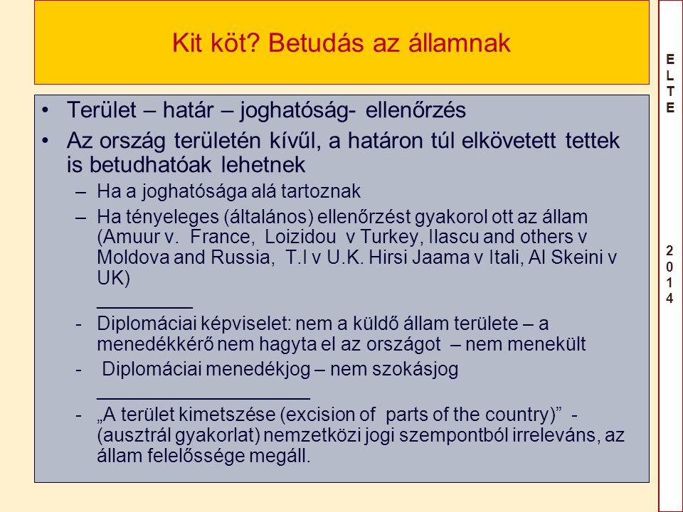 ELTE 2014ELTE 2014 Kit köt? Betudás az államnak Terület – határ – joghatóság- ellenőrzés Az ország területén kívűl, a határon túl elkövetett tettek is
