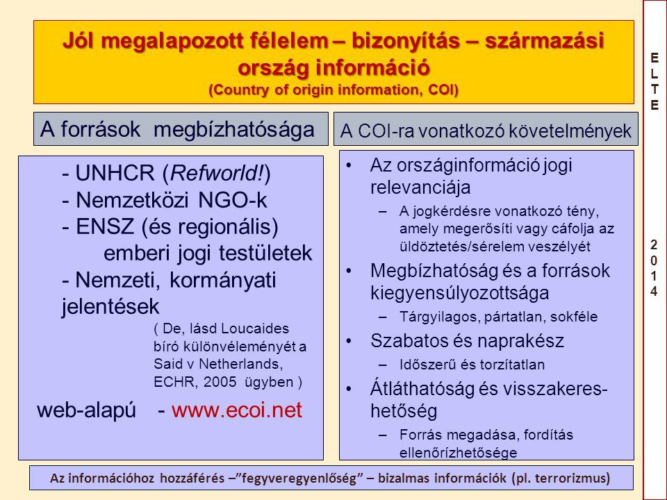 ELTE 2014ELTE 2014 Jól megalapozott félelem – bizonyítás – származási ország információ (Country of origin information, COI) A források megbízhatósága