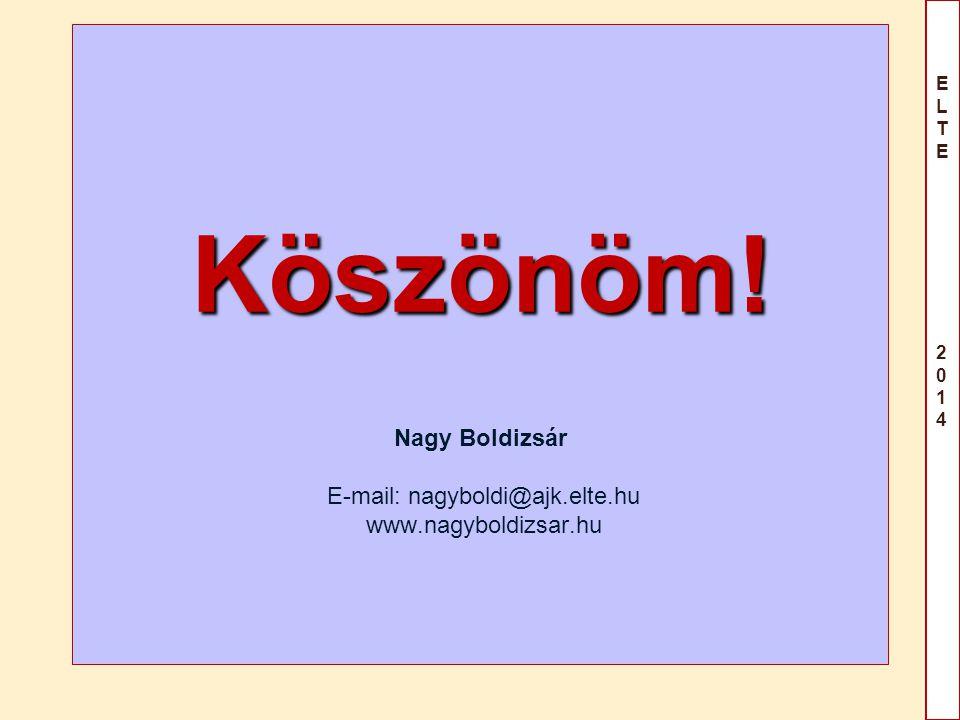 ELTE 2014ELTE 2014 Köszönöm! Köszönöm! Nagy Boldizsár E-mail: nagyboldi@ajk.elte.hu www.nagyboldizsar.hu