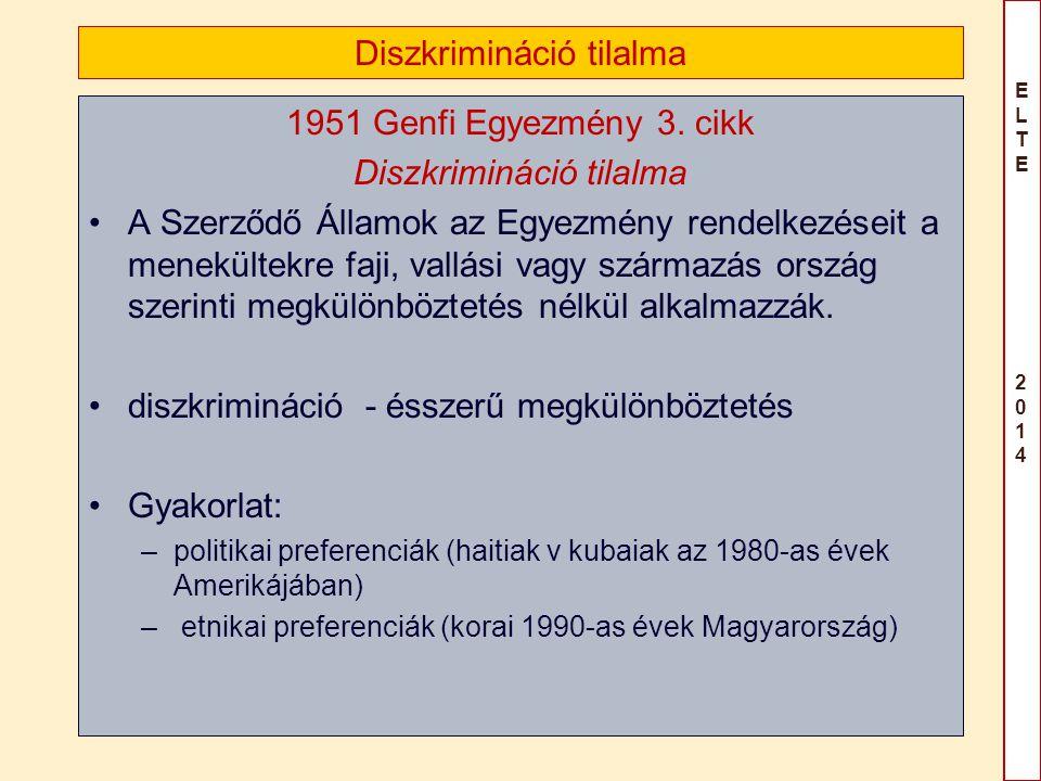 ELTE 2014ELTE 2014 Diszkrimináció tilalma 1951 Genfi Egyezmény 3. cikk Diszkrimináció tilalma A Szerződő Államok az Egyezmény rendelkezéseit a menekül