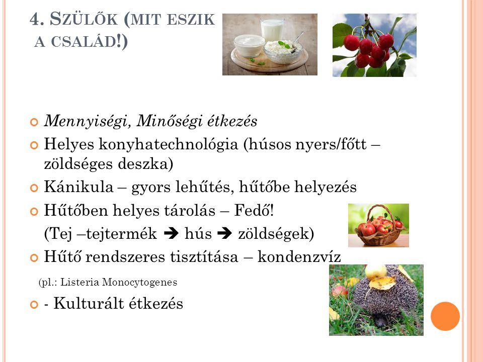 4. S ZÜLŐK ( MIT ESZIK A CSALÁD !) Mennyiségi, Minőségi étkezés Helyes konyhatechnológia (húsos nyers/főtt – zöldséges deszka) Kánikula – gyors lehűté