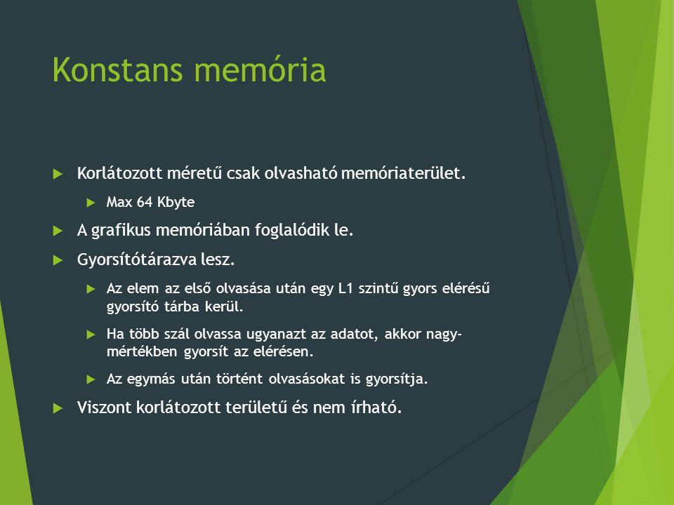 Konstans memória  Korlátozott méretű csak olvasható memóriaterület.  Max 64 Kbyte  A grafikus memóriában foglalódik le.  Gyorsítótárazva lesz.  A
