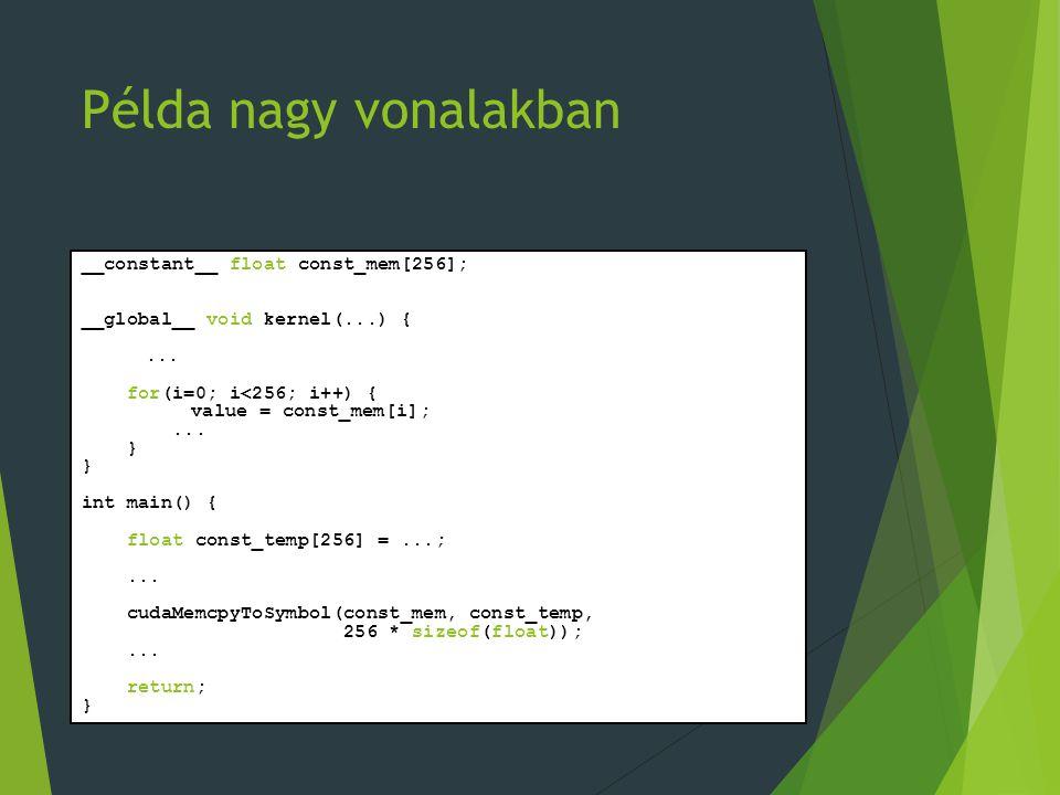 Példa nagy vonalakban __constant__ float const_mem[256]; __global__ void kernel(...) {... for(i=0; i<256; i++) { value = const_mem[i];... } int main()
