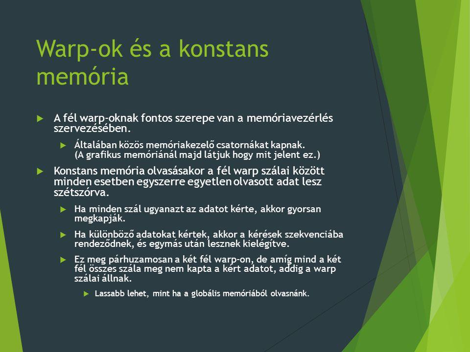 Warp-ok és a konstans memória  A fél warp-oknak fontos szerepe van a memóriavezérlés szervezésében.  Általában közös memóriakezelő csatornákat kapna
