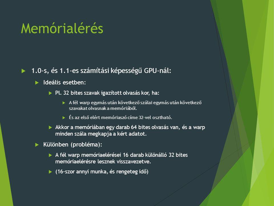 Memórialérés  1.0-s, és 1.1-es számítási képességű GPU-nál:  Ideális esetben:  Pl. 32 bites szavak igazított olvasás kor, ha:  A fél warp egymás u