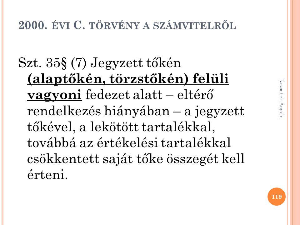 2000. ÉVI C. TÖRVÉNY A SZÁMVITELRŐL Szt. 35§ (7) Jegyzett tőkén (alaptőkén, törzstőkén) felüli vagyoni fedezet alatt – eltérő rendelkezés hiányában –