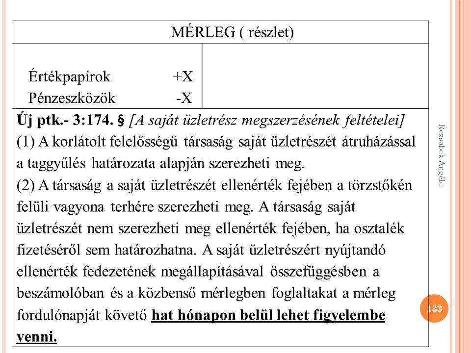 133 MÉRLEG ( részlet) Értékpapírok +X Pénzeszközök -X Új ptk.- 3:174. § [A saját üzletrész megszerzésének feltételei] (1) A korlátolt felelősségű társ