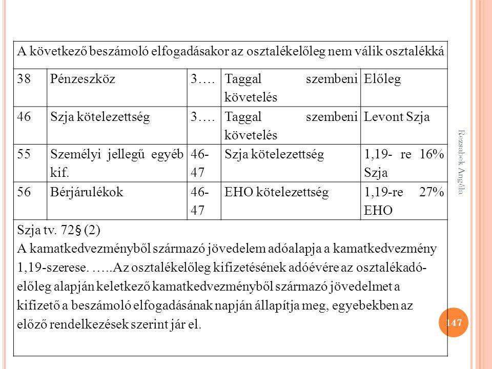 Rezsabek Angéla 147 A következő beszámoló elfogadásakor az osztalékelőleg nem válik osztalékká 38Pénzeszköz3…. Taggal szembeni követelés Előleg 46Szja