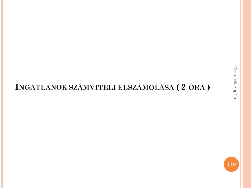 I NGATLANOK SZÁMVITELI ELSZÁMOLÁSA ( 2 ÓRA ) 149 Rezsabek Angéla