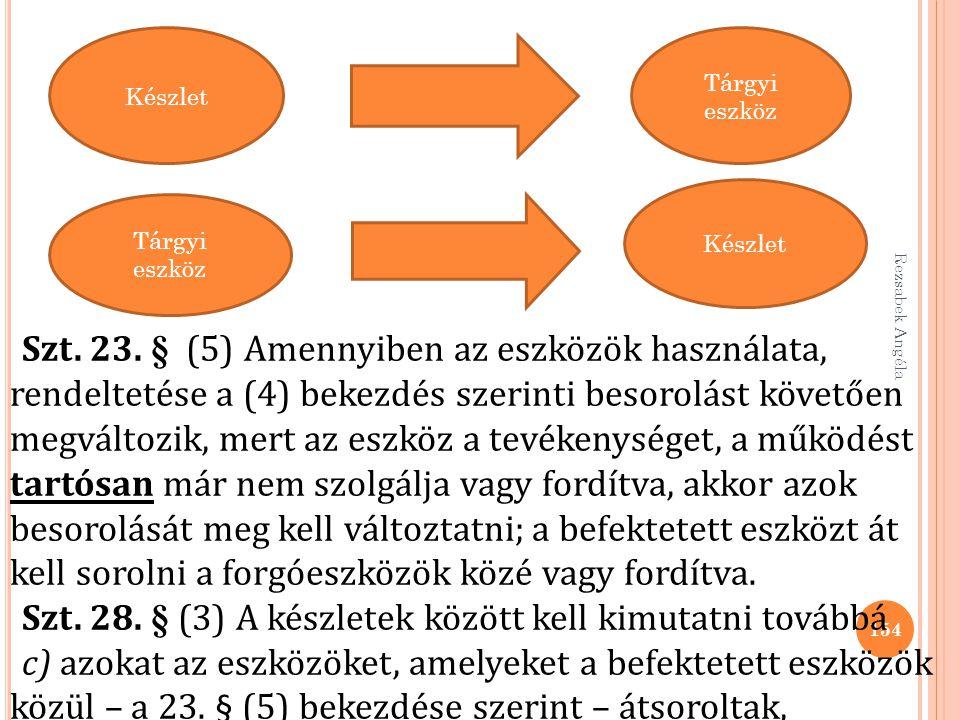 Rezsabek Angéla 154 Készlet Tárgyi eszköz Készlet Tárgyi eszköz Szt. 23. § (5) Amennyiben az eszközök használata, rendeltetése a (4) bekezdés szerinti