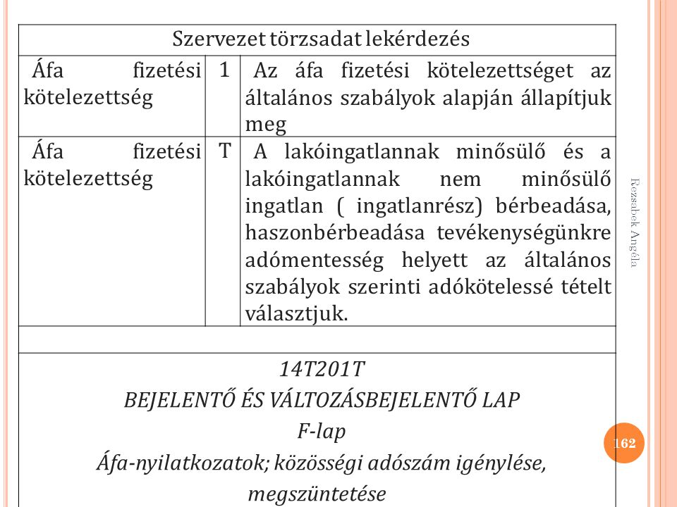 Rezsabek Angéla 162 Szervezet törzsadat lekérdezés Áfa fizetési kötelezettség 1Az áfa fizetési kötelezettséget az általános szabályok alapján állapítj