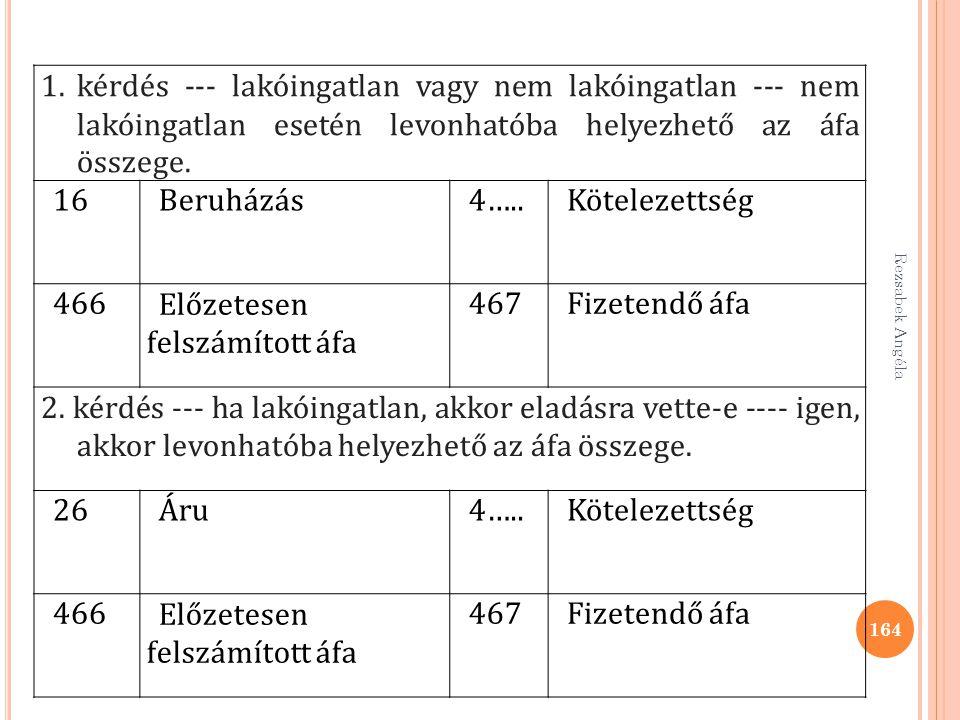 164 1.kérdés --- lakóingatlan vagy nem lakóingatlan --- nem lakóingatlan esetén levonhatóba helyezhető az áfa összege. 16Beruházás4…..Kötelezettség 46