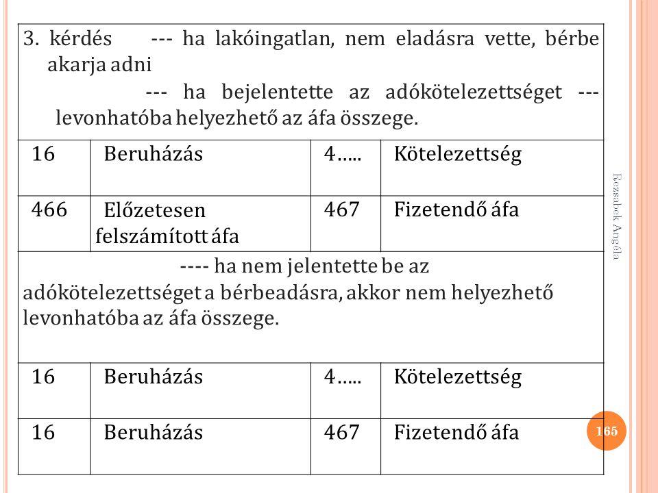 Rezsabek Angéla 165 3. kérdés --- ha lakóingatlan, nem eladásra vette, bérbe akarja adni --- ha bejelentette az adókötelezettséget --- levonhatóba hel