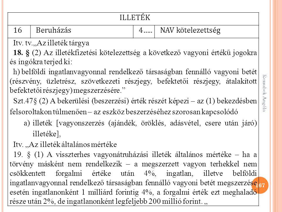 """Rezsabek Angéla 167 ILLETÉK 16Beruházás4…..NAV kötelezettség Itv. tv.""""Az illeték tárgya 18. § (2) Az illetékfizetési kötelezettség a következő vagyoni"""