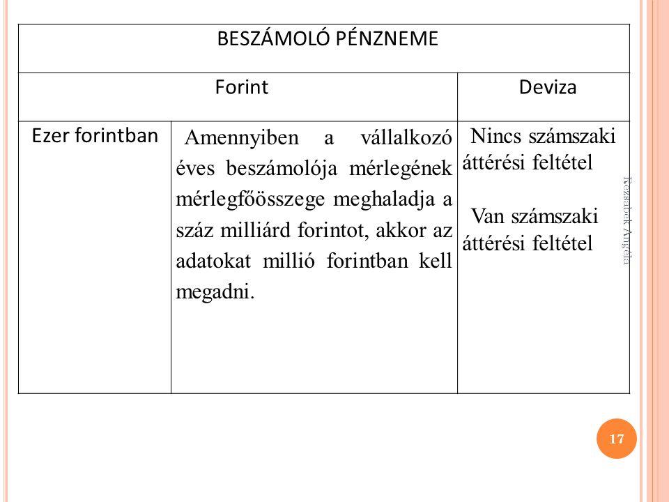 BESZÁMOLÓ PÉNZNEME ForintDeviza Ezer forintban Amennyiben a vállalkozó éves beszámolója mérlegének mérlegfőösszege meghaladja a száz milliárd forintot