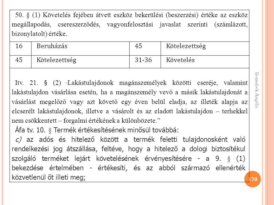 Rezsabek Angéla 170 50. § (1) Követelés fejében átvett eszköz bekerülési (beszerzési) értéke az eszköz megállapodás, csereszerződés, vagyonfelosztási