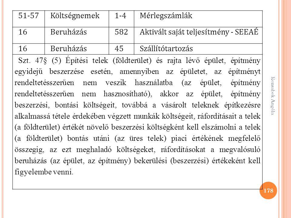 Rezsabek Angéla 178 51-57Költségnemek1-4Mérlegszámlák 16Beruházás582Aktivált saját teljesítmény - SEEAÉ 16Beruházás45Szállítótartozás Szt. 47§ (5) Épí