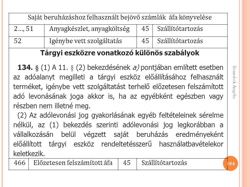 Rezsabek Angéla 184 Saját beruházáshoz felhasznált bejövő számlák áfa könyvelése 2…, 51Anyagkészlet, anyagköltség45Szállítótartozás 52Igénybe vett szo