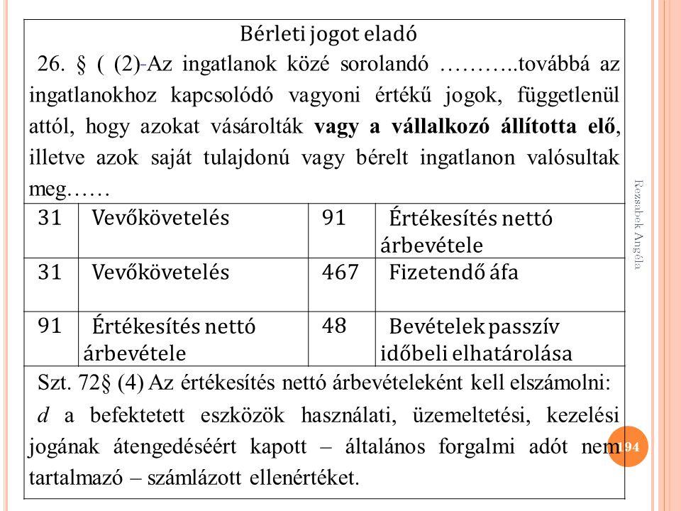 Rezsabek Angéla 194 Bérleti jogot eladó 26. § ( (2) Az ingatlanok közé sorolandó ………..továbbá az ingatlanokhoz kapcsolódó vagyoni értékű jogok, függet
