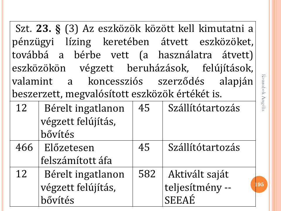 Rezsabek Angéla 195 Szt. 23. § (3) Az eszközök között kell kimutatni a pénzügyi lízing keretében átvett eszközöket, továbbá a bérbe vett (a használatr