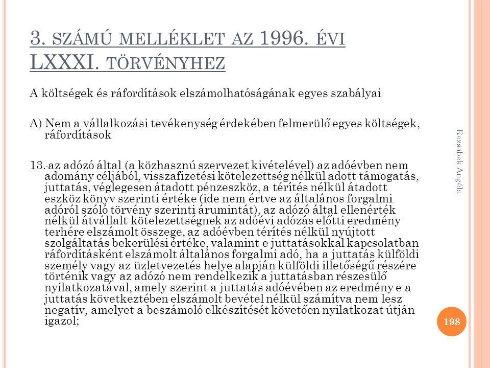 3. SZÁMÚ MELLÉKLET AZ 1996. ÉVI LXXXI. TÖRVÉNYHEZ A költségek és ráfordítások elszámolhatóságának egyes szabályai A) Nem a vállalkozási tevékenység ér