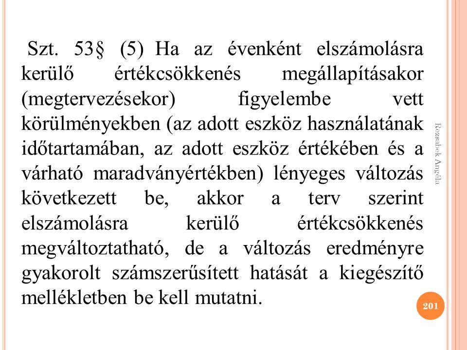 Rezsabek Angéla 201 Szt. 53§ (5) Ha az évenként elszámolásra kerülő értékcsökkenés megállapításakor (megtervezésekor) figyelembe vett körülményekben (