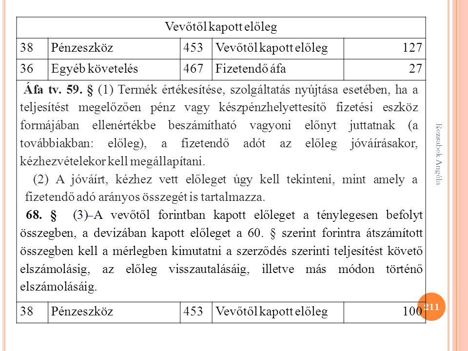 Rezsabek Angéla 211 Vevőtől kapott előleg 38 Pénzeszköz453Vevőtől kapott előleg127 36 Egyéb követelés467Fizetendő áfa27 Áfa tv. 59. § (1) Termék érték