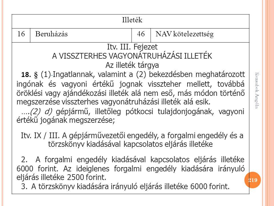 Rezsabek Angéla 219 Illeték 16Beruházás46NAV kötelezettség Itv. III. Fejezet A VISSZTERHES VAGYONÁTRUHÁZÁSI ILLETÉK Az illeték tárgya 18. § (1) Ingatl