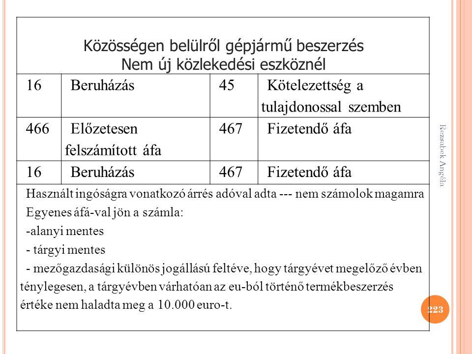 Rezsabek Angéla 223 Közösségen belülről gépjármű beszerzés Nem új közlekedési eszköznél 16Beruházás45 Kötelezettség a tulajdonossal szemben 466 Előzet