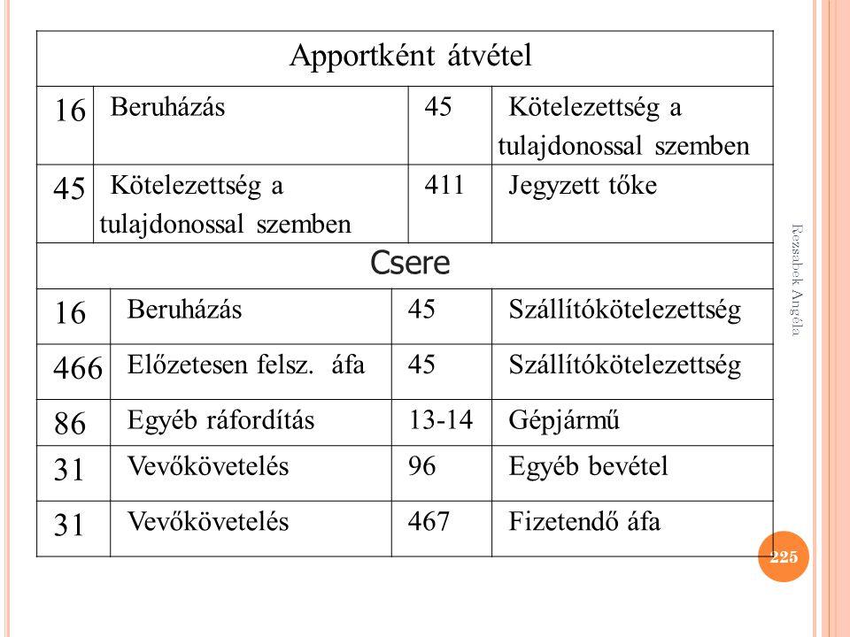Rezsabek Angéla 225 Apportként átvétel 16 Beruházás45 Kötelezettség a tulajdonossal szemben 45 Kötelezettség a tulajdonossal szemben 411Jegyzett tőke