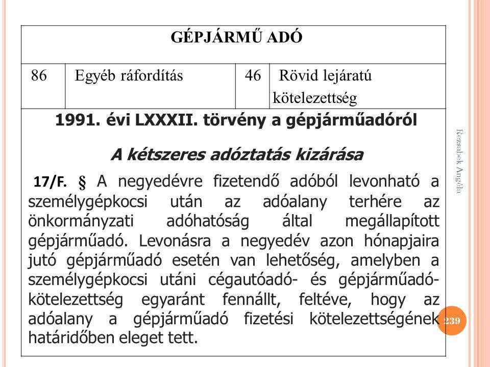 Rezsabek Angéla 239 GÉPJÁRMŰ ADÓ 86Egyéb ráfordítás46 Rövid lejáratú kötelezettség 1991. évi LXXXII. törvény a gépjárműadóról A kétszeres adóztatás ki