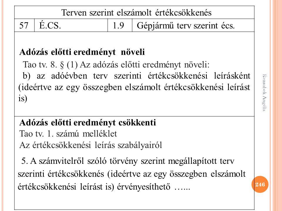 Rezsabek Angéla 246 Terven szerint elszámolt értékcsökkenés 57 É.CS.1.9Gépjármű terv szerint écs. Adózás előtti eredményt növeli Tao tv. 8. § (1) Az a