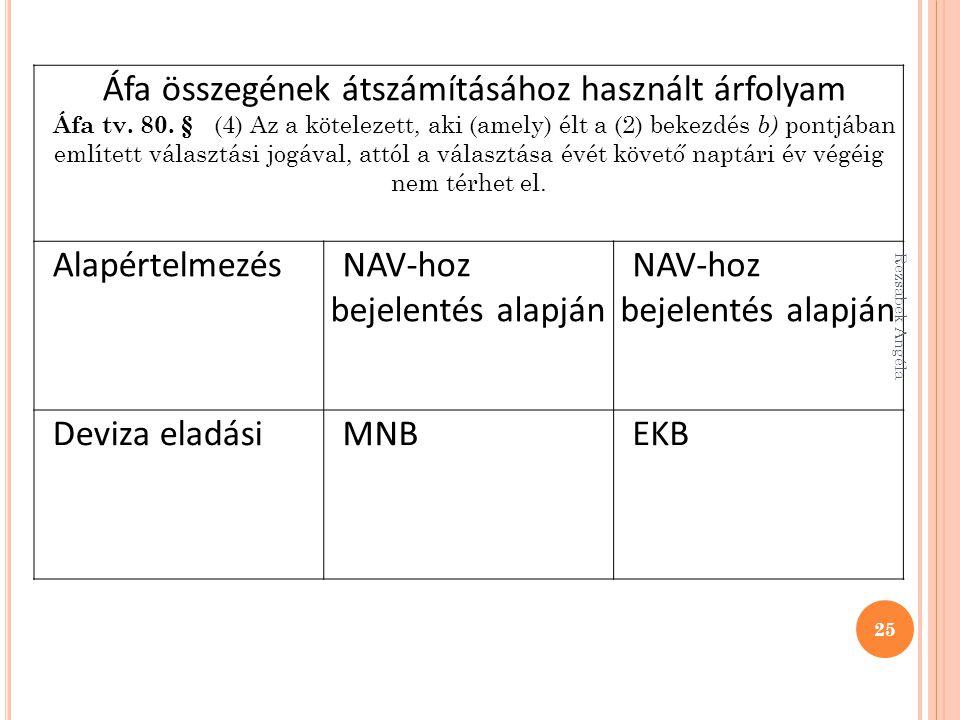 Áfa összegének átszámításához használt árfolyam Áfa tv. 80. § (4) Az a kötelezett, aki (amely) élt a (2) bekezdés b) pontjában említett választási jog