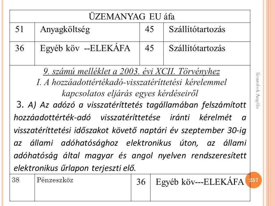 Rezsabek Angéla 257 ÜZEMANYAG EU áfa 51Anyagköltség45Szállítótartozás 36Egyéb köv --ELEKÁFA45Szállítótartozás 9. számú melléklet a 2003. évi XCII. Tör