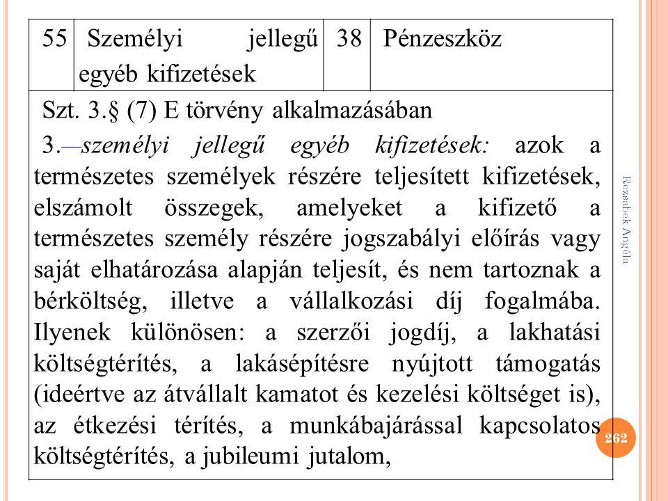 262 55 Személyi jellegű egyéb kifizetések 38Pénzeszköz Szt. 3.§ (7) E törvény alkalmazásában 3. személyi jellegű egyéb kifizetések: azok a természetes