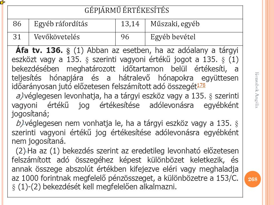 Rezsabek Angéla 268 GÉPJÁRMŰ ÉRTÉKESÍTÉS 86Egyéb ráfordítás13,14Műszaki, egyéb 31Vevőkövetelés96Egyéb bevétel Áfa tv. 136. § (1) Abban az esetben, ha