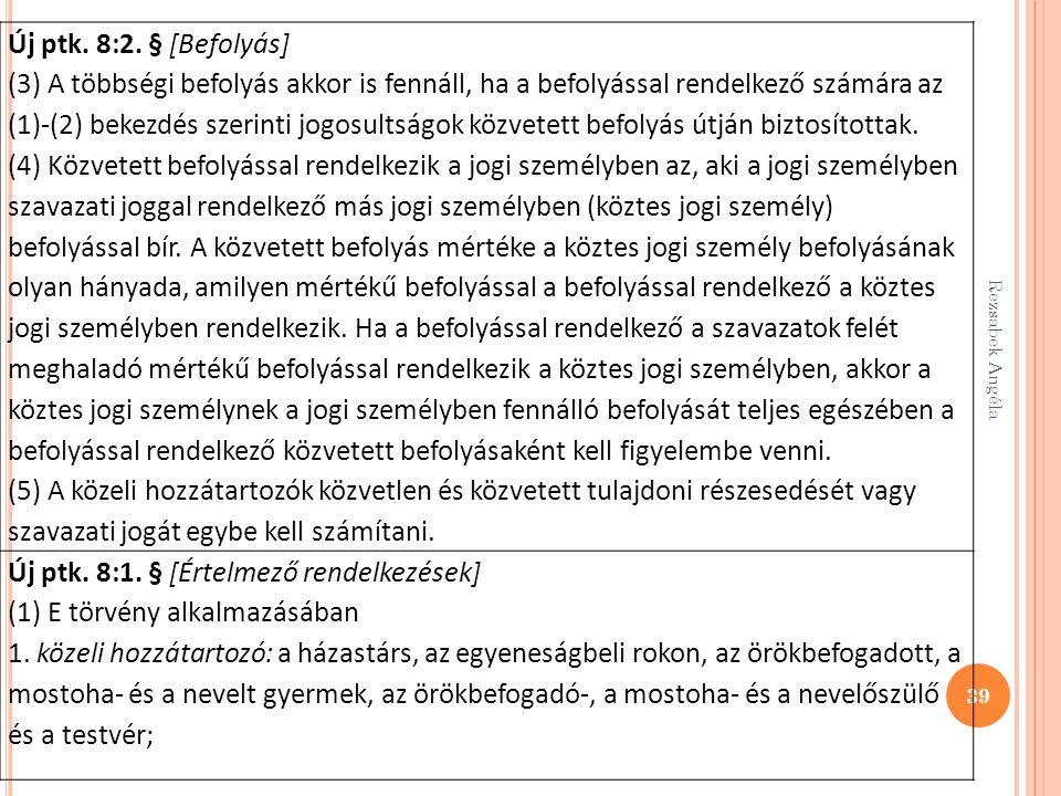 39 Új ptk. 8:2. § [Befolyás] (3) A többségi befolyás akkor is fennáll, ha a befolyással rendelkező számára az (1)-(2) bekezdés szerinti jogosultságok