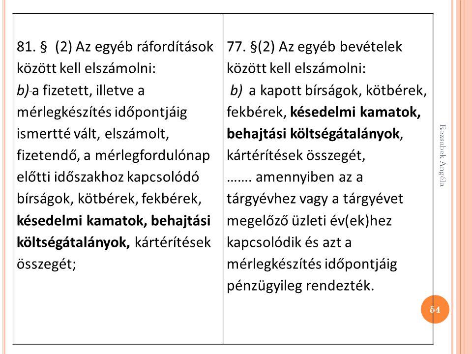Rezsabek Angéla 54 81. § (2) Az egyéb ráfordítások között kell elszámolni: b) a fizetett, illetve a mérlegkészítés időpontjáig ismertté vált, elszámol