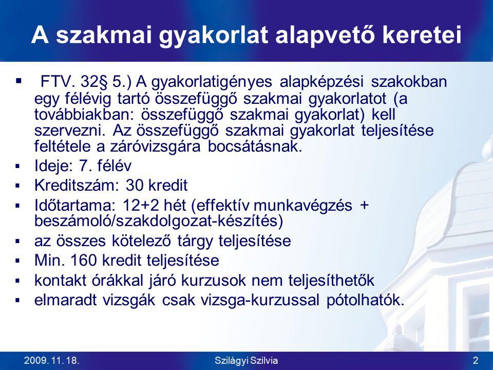 2009.11. 18.Szilágyi Szilvia3 Gyakorlati hely A Kar akkreditálja céges adatok alapján.