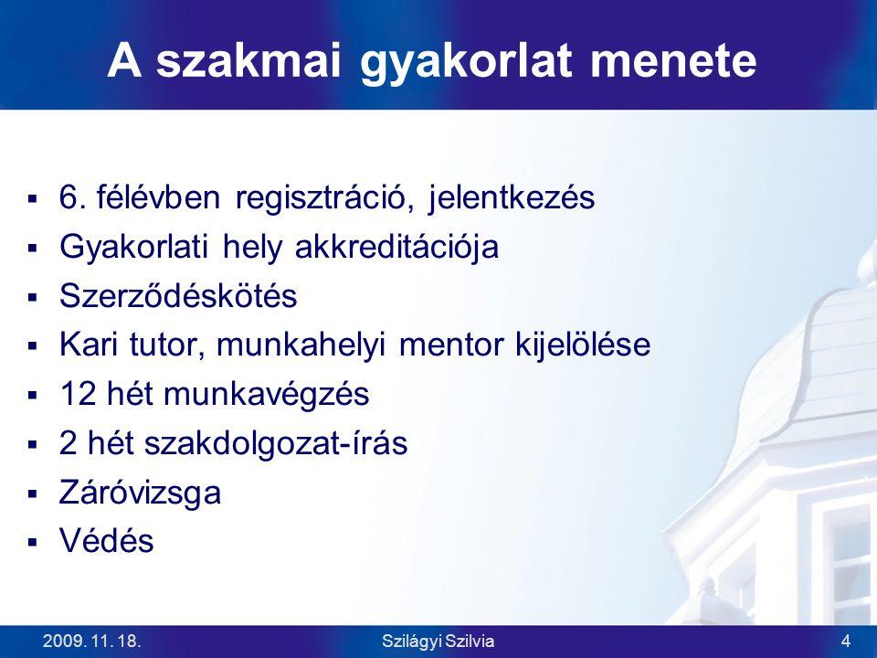 2009. 11. 18.Szilágyi Szilvia4 A szakmai gyakorlat menete  6.