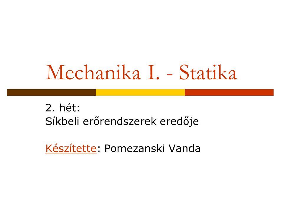 Mechanika I. - Statika 2. hét: Síkbeli erőrendszerek eredője Készítette: Pomezanski Vanda