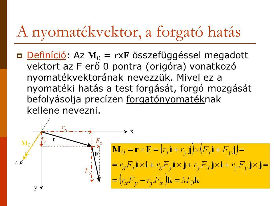 A nyomatékvektor, a forgató hatás  Definíció: Az M 0 = r x F összefüggéssel megadott vektort az F erő 0 pontra (origóra) vonatkozó nyomatékvektorának nevezzük.