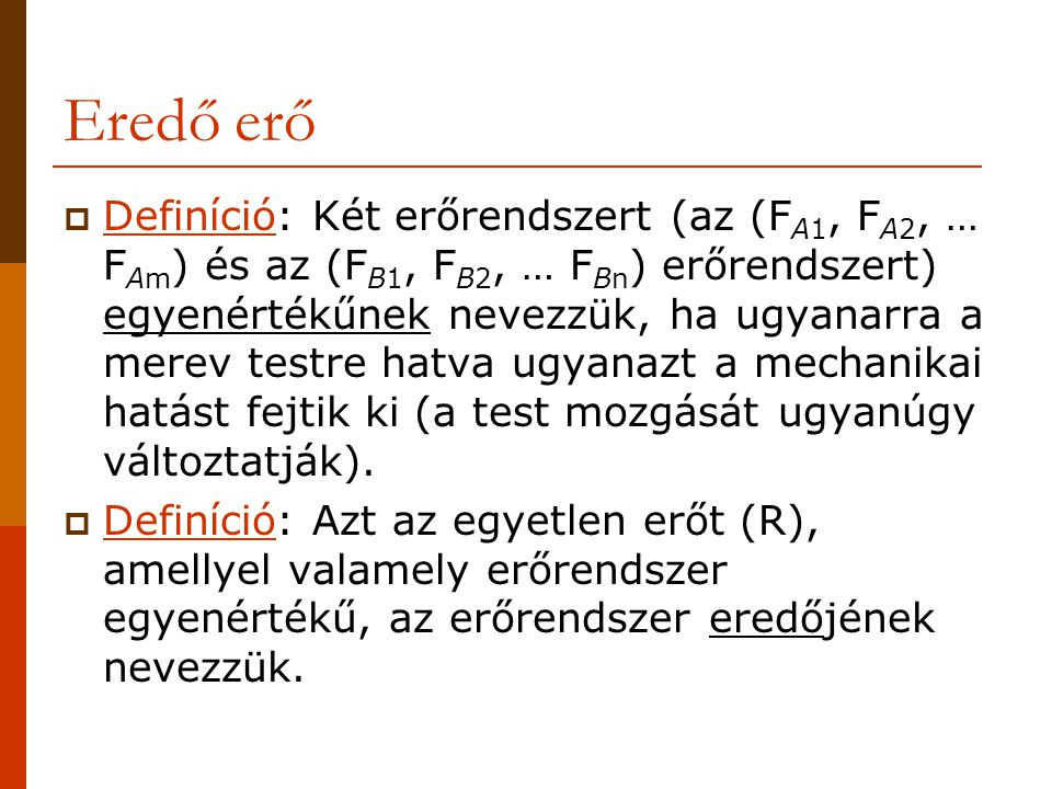 Erővektorok összeadása közös metszéspontú erők esetében x y F1F1 F2F2 F1xF1x F1yF1y F2xF2x F2yF2y F1xF1x F1yF1y F1F1 F2xF2x F2yF2y F2F2 RxRx RyRy R Vektor ábra 1 cm (=) … kN R RxRx RyRy Geometriai ábra M=1:…..