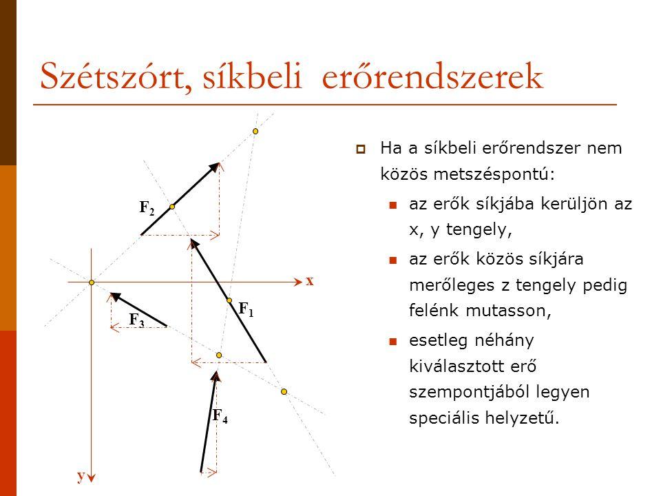 y x Szétszórt, síkbeli erőrendszerek  Ha a síkbeli erőrendszer nem közös metszéspontú: az erők síkjába kerüljön az x, y tengely, az erők közös síkjára merőleges z tengely pedig felénk mutasson, esetleg néhány kiválasztott erő szempontjából legyen speciális helyzetű.