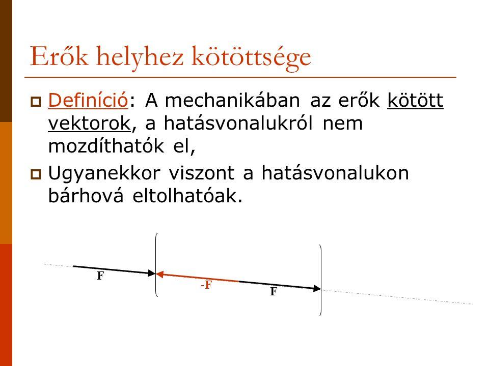Erők helyhez kötöttsége  Definíció: A mechanikában az erők kötött vektorok, a hatásvonalukról nem mozdíthatók el,  Ugyanekkor viszont a hatásvonalukon bárhová eltolhatóak.