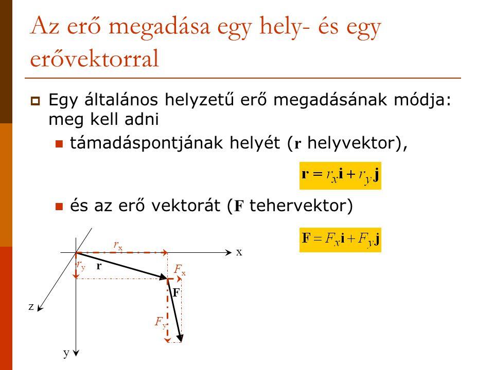 Az erő megadása egy hely- és egy erővektorral  Egy általános helyzetű erő megadásának módja: meg kell adni támadáspontjának helyét ( r helyvektor), és az erő vektorát ( F tehervektor) x y F r FyFy FxFx rxrx ryry z